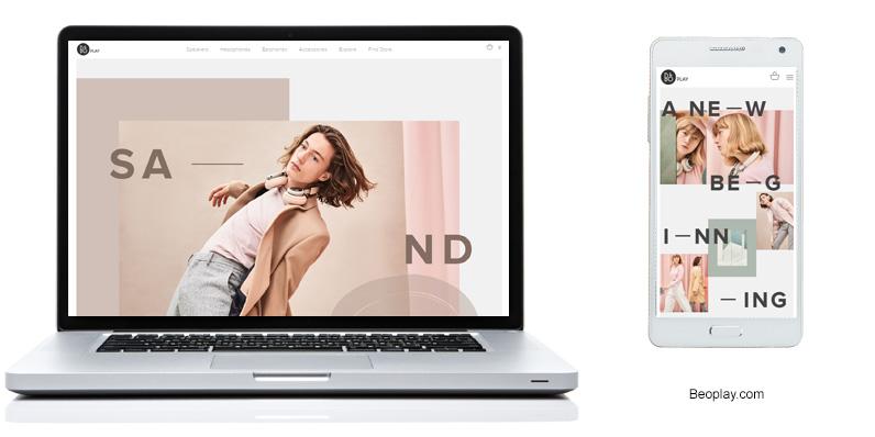 Esimrkki epäsäännöllisestä asettelusta beoplay.comin kampanjasivulta