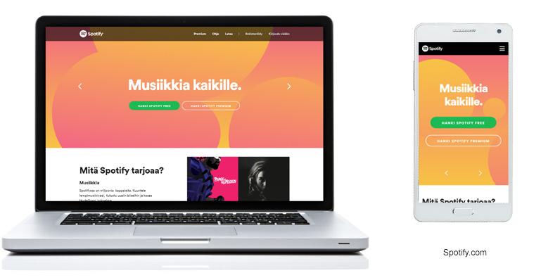 Esimerkkikuva spotify.comin värikkäästä etusivusta